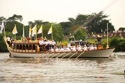 The Olympic Flame on the River Thames