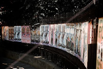 Park Railings with Fringe Show Posters in Edinburgh