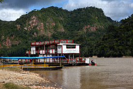 Old fashioned river boat moored on River Beni , Rurrenabaque , Bolivia
