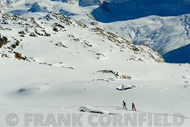Ski trekking above Zermatt in Switzerland