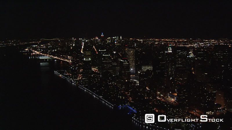 Night flight over lower Manhattan.