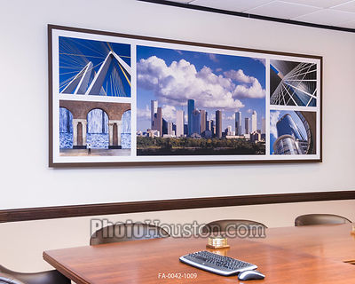 Panoramic photography display in conference room. The artwork with float frame is 10 feet wide.