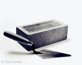 Trowel with a brick