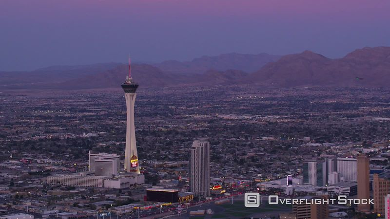 Las Vegas, Nevada Approach Stratosphere tower from the Las Vegas Strip.  Shot with Cineflex and RED EpicW Helium.
