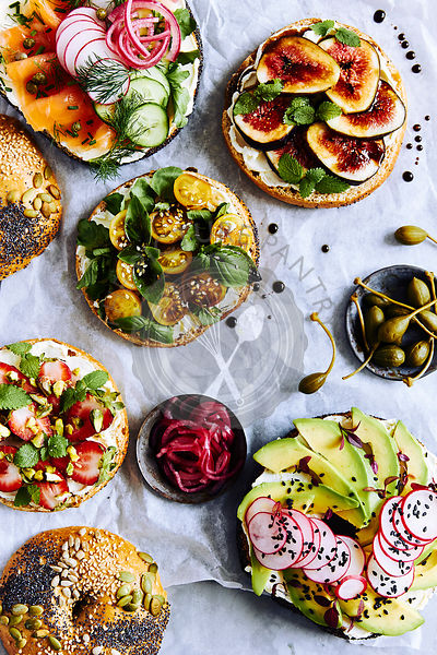 Gourmet colourful bagels with a selection of healthy fillings