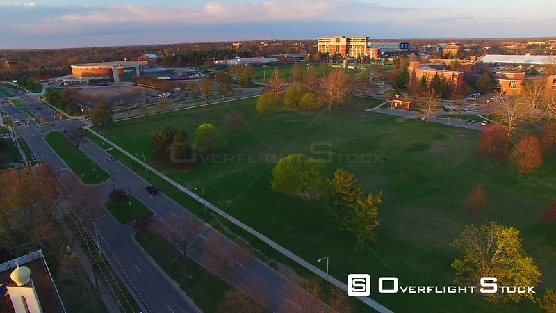 Drone Video of Michigan State University at East Lansing. View to Spartan Stadium and Harrison Road.
