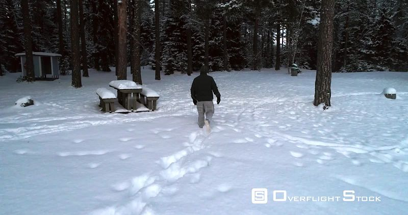 Man Walking Deep Snow, 4k View of a Young Male, Hiking a Frozen, Heavy Snow, Cold Winter Day, Uusimaa, Finland