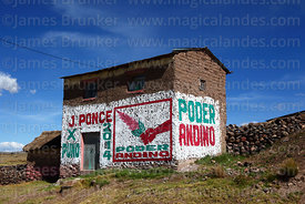 Regional election propaganda on adobe house, Atuncolla, Puno Region, Peru