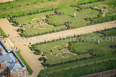 Aerial view of Privy Garden, Hampton Court
