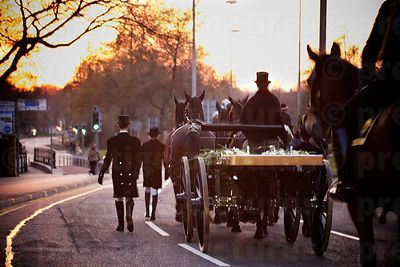 The Sun Sets as Richard III's Funeral Cortege leaves Leicester Cathedral with an Empty Carriage