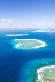 Aerial view of Namotu island and Malolo reef, Mamanucas islands, Fiji