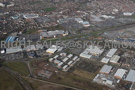 Widnes high level aerial photograph looking across Earle Road and Turnstone Business Park B & Q Dennis road towards Fiddlers Ferry road and Ashley Way with the town centre in the background