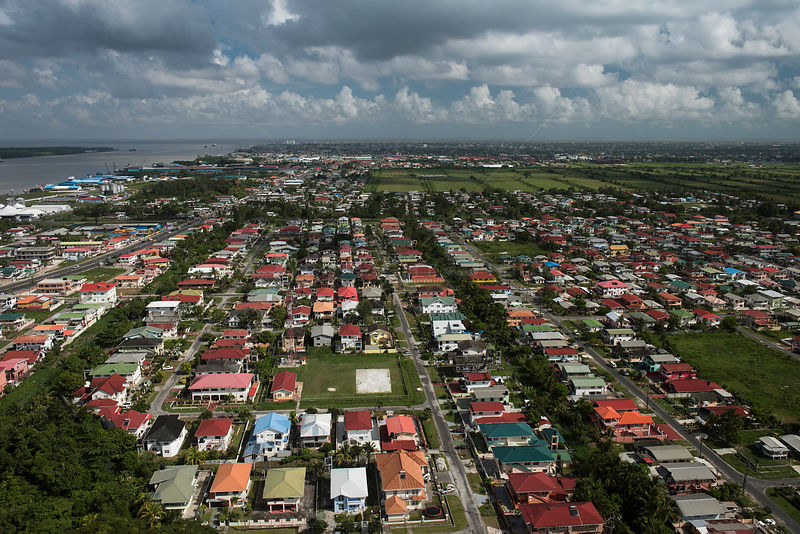 Aerial view of Georgetown, Guyana, South America