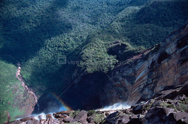 Looking over edge of Angel Falls, world's tallest waterfall, southern Venezuela, South America.November 2005, BBC Planet Earth