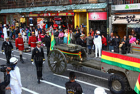 Navy officers escort the remains of Eduardo Abaroa as they arrive in Plaza Avaroa on a gun carriage, La Paz, Bolivia