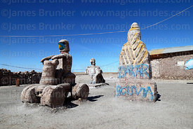 Dakar Rally salt sculptures outside house, Colchani, near Uyuni, Bolivia