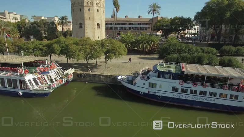 Aerial View of the Tower of Gold (torre Del Oro) in Seville, and the Seville Cathedral at the Back, Spain