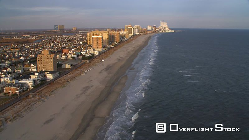 Aerial approach to Atlantic City from Ventnor City Pier.