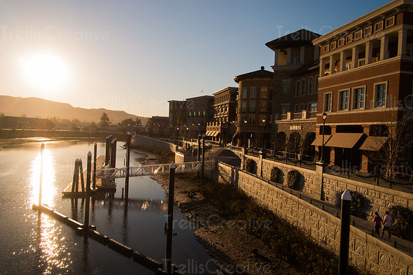 add to stock, boardwalk, California, downtown Napa, magic hour, Napa Valley, pier, The Waterfront