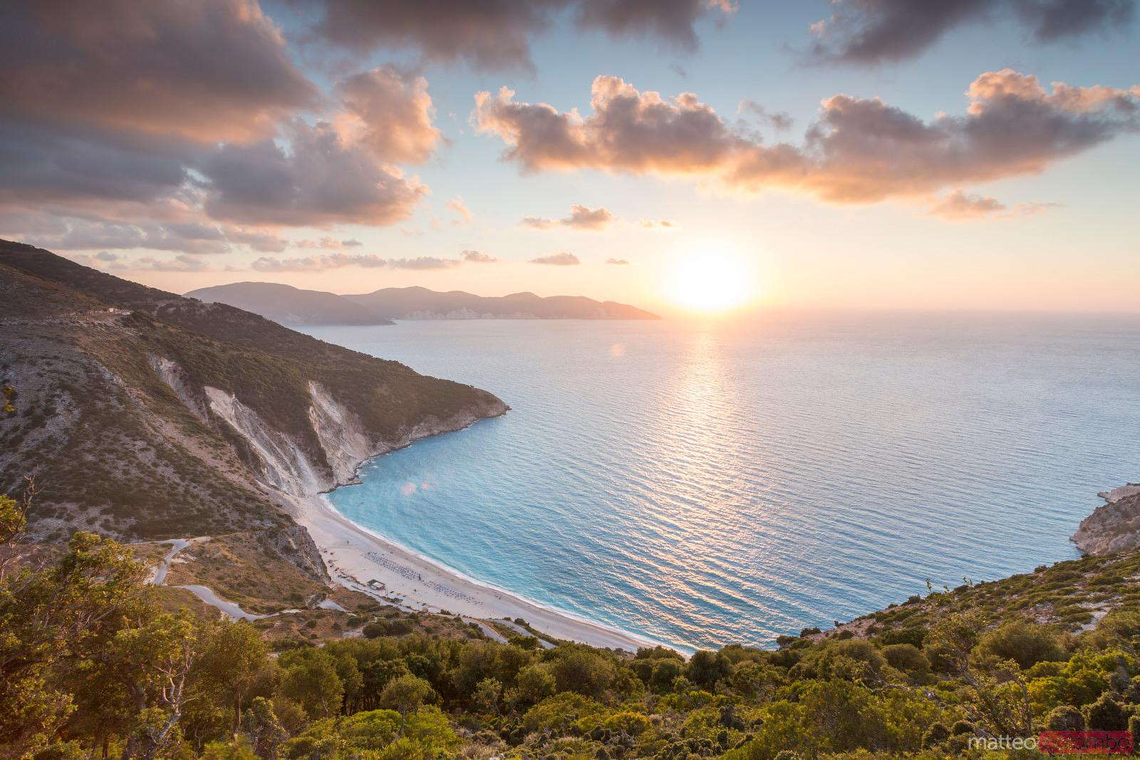 Sunset over famous Myrtos beach. Kefalonia, Greek Islands, Greece
