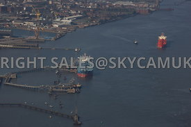 Tranmere aerial photograph of the Shell Tranmere Oil Terminal with Birkenhead in the background and the River Mersery