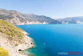 Coastline of Kefalonia island and blue sea in summer, Greece