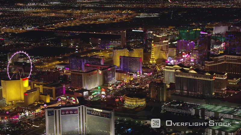 Las Vegas, Nevada High angle aerial view of Las Vegas Strip at night.  Shot with Cineflex and RED EpicW Helium.