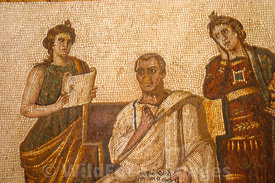 Roman Mosaic depicting the poet Virgil, Bardo Museum, Tunisia, Landscape