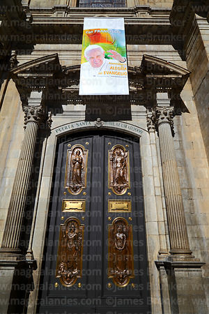 Portrait of Pope Francis above Holy Door / Puerta Santa next to main entrance of cathedral, La Paz, Bolivia