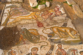 Hunting Mosaic Floor of the New House of The Hunt, Bulla Regia, Tunisia; Landscape