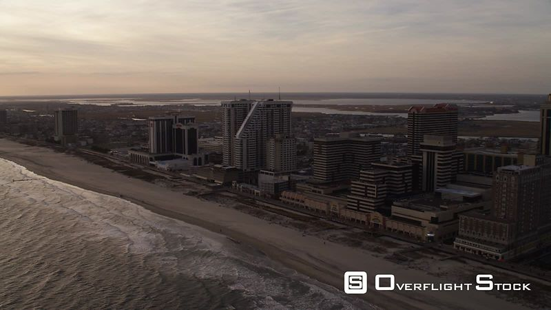 Flying past beach resorts at the southwest end of Atlantic City, New Jersey. Shot in November