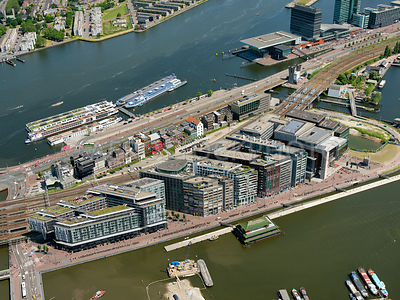 Oosterdoks Island (Oosterdokseiland, ODE)  with the Amsterdam Public Library  (Openbare Bibliotheeek Amsterdam, OBA) and the Conservatorium van Amsterdam, Amsterdam, Netherlands