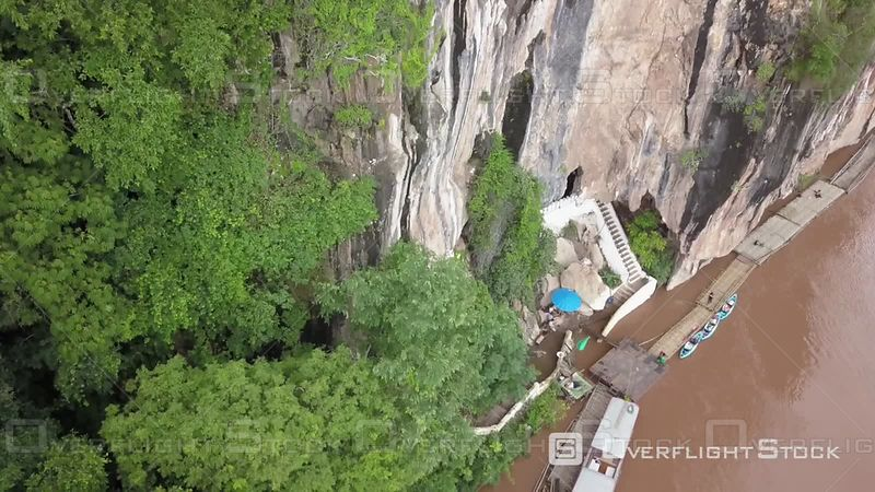 Aerial view of the Pak Ou Caves on Mekong river, filmed by drone, Pak Ou, Laos