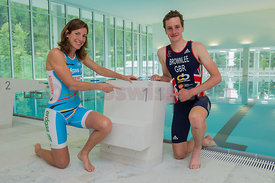 Nicola Spirig, Alistair Brownlee, Triathlon Olympic Medalists in London 2012 enjoy the training facility OVAVERVA in St.Moritz,