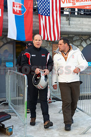 His Highness Albert Grimaldi (Fuerst von Monaco) at the Monaco Bob Race on the Olympia Bob Run in St. Moritz
