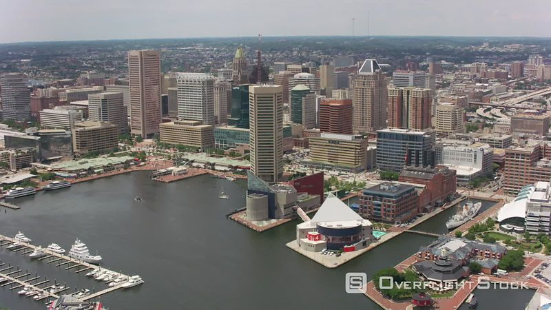 Baltimore, Maryland Aerial view of downtown Baltimore buildings.  Shot with Cineflex and RED EpicW Helium.