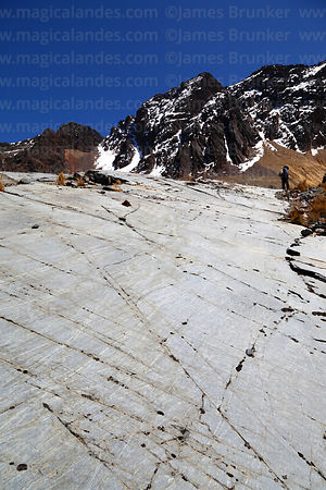 Glacial striations on bedrock layer that used to be under a glacier, Cordillera Real, Bolivia