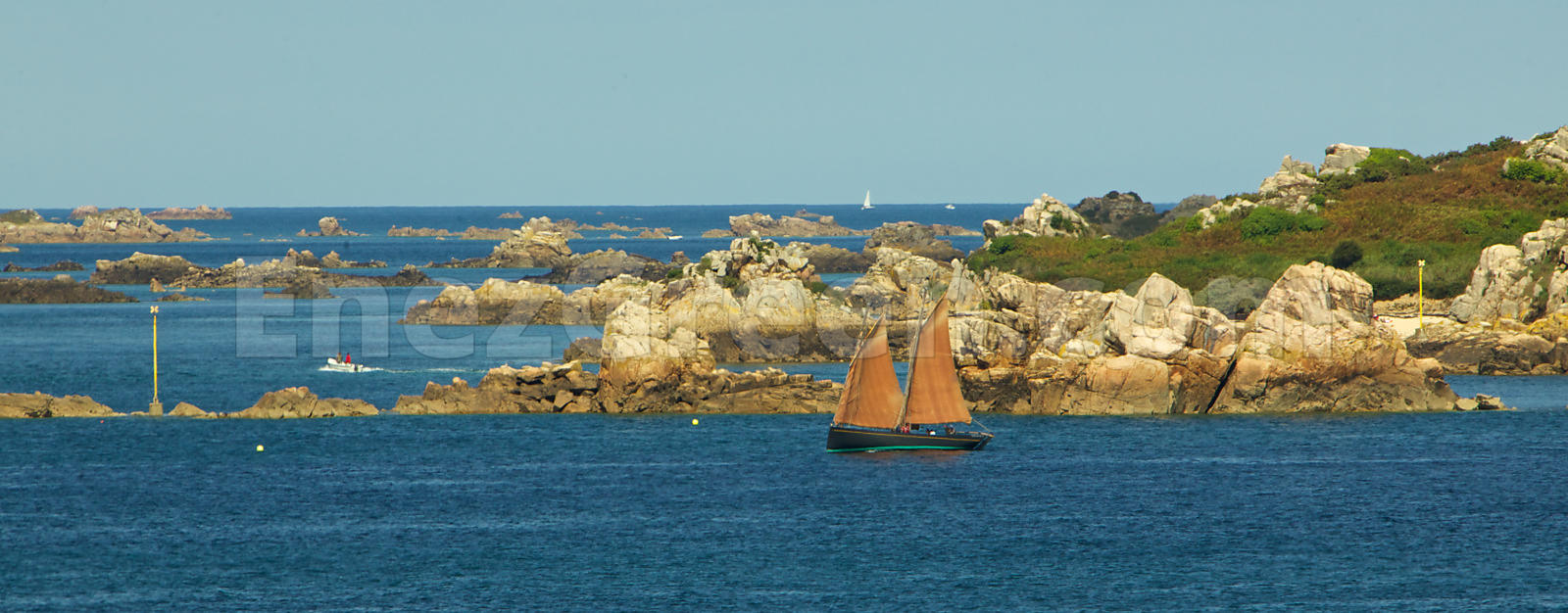 Traditional fishing boat in Bréhat archipelago