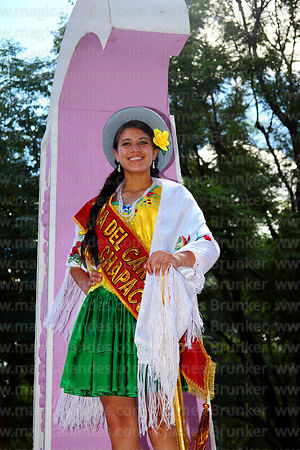 Carnival queen on float during parades, Tarija, Bolivia