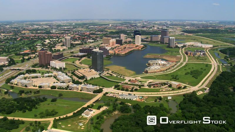 Flying over Las Colinas in Irving, a suburb of Dallas, Texas