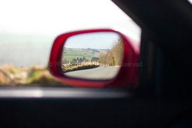 red car wing mirror