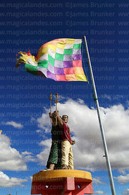 Statue of indigenous leaders Túpac Katari and Bartolina Sisa and wiphala flag, La Apacheta, El Alto, Bolivia