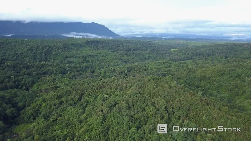 Mountains covered by jungle on the Boloven plateau, filmed by drone, Champassak Province, Laos