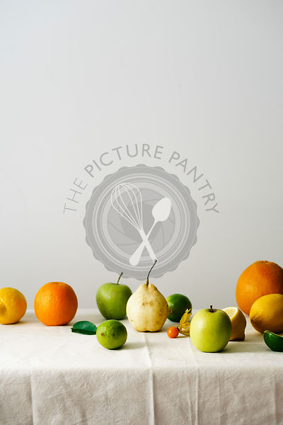Citrus fruits, pear and apples