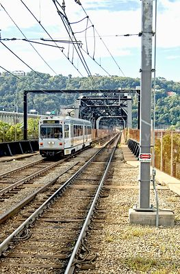 Pittsburgh T crossing the Monongahela River