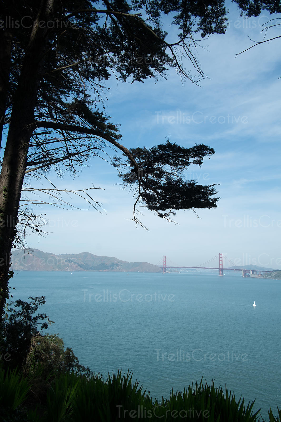 Distant view of the Golden Gate bridge with San Francisco Bay in the foreground