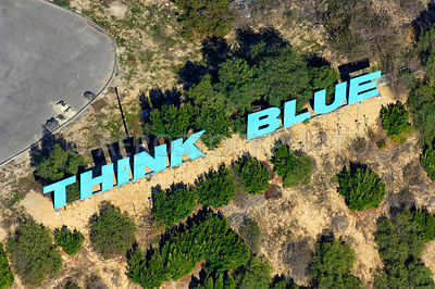 Think Blue sign,  Los Angeles, California, USA