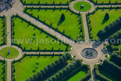 Aerial view of Irish Museum of Modern art formal gardens, Dublin, Ireland