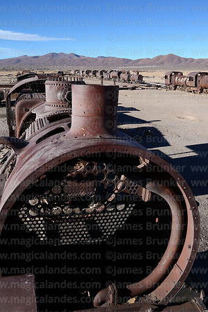 View over old steam trains in train cemetery, Uyuni, Bolivia
