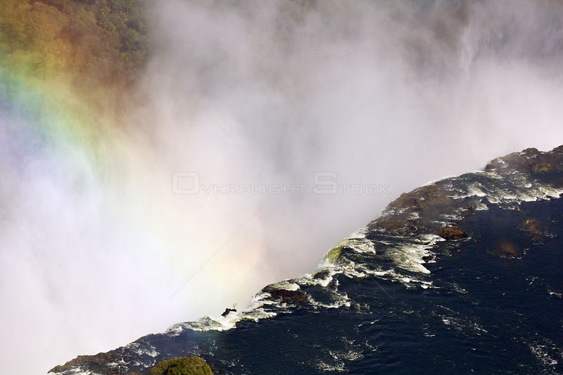 Aerial view of Victoria Falls with rainbow, Zambezi River at the border of Zimbabwe and Zambia, Mosi-oa-Tunya / Victoria Falls UNESCO World Heritage Site. in July 2014